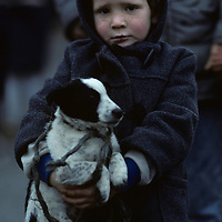 Ireland, County Galway, Young boy holds puppy in rain in Ballinasloe on autumn afternoon