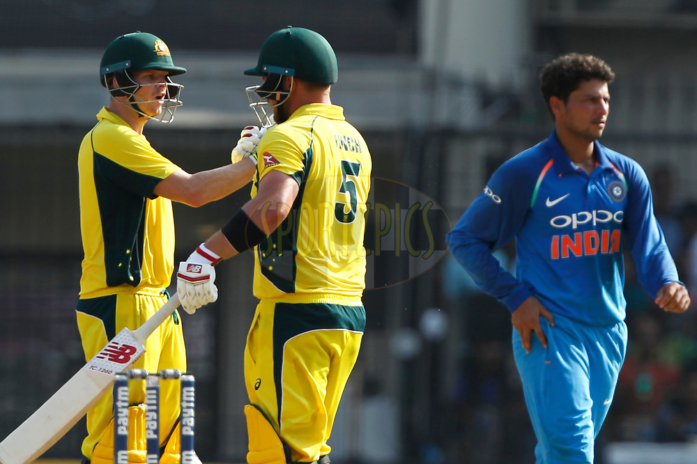 Steven Smith captain of Australia  celebrates Aaron Finch of Australia hundred runs during the 3rd One Day International between India and Australia held at the Holkar Stadium in Indore on the 24th  September 2017<br /> <br /> Photo by Deepak Malik / BCCI / SPORTZPICS