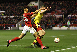 Tyler Walker of Nottingham Forest (L) and Michael Keane of Burnley in action - Mandatory byline: Jack Phillips / JMP - 07966386802 - 20/10/2015 - FOOTBALL - The City Ground - Nottingham, Nottinghamshire - Nottingham Forest v Burnley - Sky Bet Championship