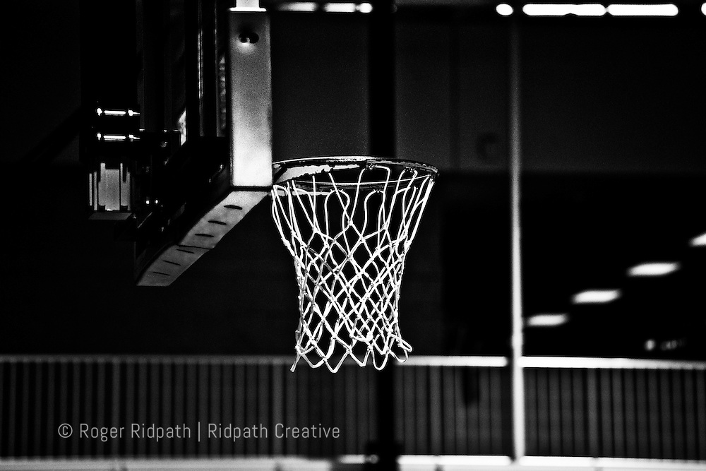 Basketball goal, hoop and net black and white