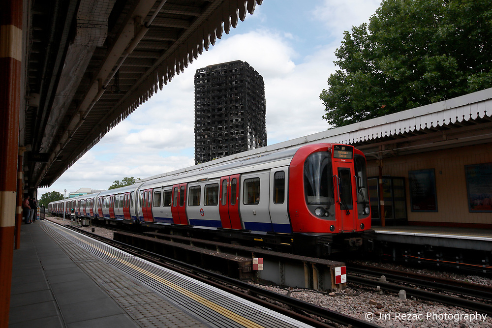 UK ENGLAND LONDON 14JUL17 - Views of the burnt-out shell of Grenfell Tower from Latimer Road underground station  in north Kensington, west London, one month after the disaster that left over 80 people dead.<br /> <br /> jre/Photo by Jiri Rezac<br /> <br /> &copy; Jiri Rezac 2017