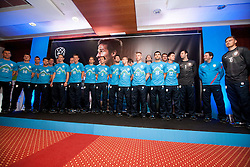 Players during presentation of new Nike jerseys of Slovenian Nathional Football Team, on February 28, 2012 in Grand Hotel Metropol, Portoroz, Slovenia.  (Photo By Vid Ponikvar / Sportida.com)