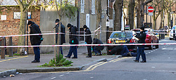 Police conduct a fingertip search on a housing estate behind where a 17 year-old boy died after being stabbed on Caledonian Road, Islington, North London. London, January 30 2019.