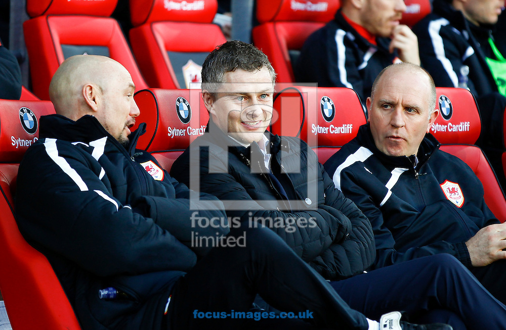 Picture by Mike  Griffiths/Focus Images Ltd +44 7766 223933<br /> 11/01/2014<br /> Ole Gunnar Solskjaer (C) Manager of Cardiff City against West Ham United during the Barclays Premier League match at the Cardiff City Stadium, Cardiff.