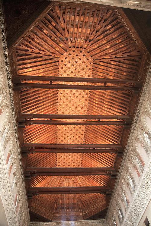 Sinagoga del Transito, Museuo Sefardi, Toledo, coffered Mudejar style wooden ceiling