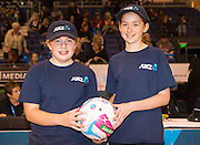 ANZ Future Captains Caitlynne Hill,11 years old and Lily Shortus, 10 years old before the ANZ Championship Netball game between the Mainland Tactix v Adelaide Thunderbirds at Horncastle Arena in Christchurch. 20th April 2015 Photo: Joseph Johnson/www.photosport.co.nz