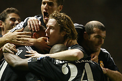 MANCHESTER, ENGLAND - Wednesday, April 23, 2003: Real Madrid's Ronaldo celebrates his hat-trick goal against Manchester United during the UEFA Champions League Quarter Final 2nd Leg match at Old Trafford. (Pic by David Rawcliffe/Propaganda)