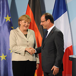 Bildnummer: 57992125..Chancellor Angela Merkel and Franois Grard Georges Nicolas Hollande during a press conference French Presidents in Federal Chancellery in Berlin Germany, Tuesday May 15, 2012.Sven Simon/imago/ i-Images
