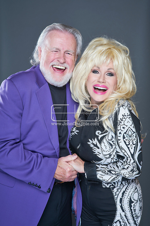 February 22, 2016. Las Vegas, Nevada.  The 22nd Reel Awards and Tribute Artist Convention in Las Vegas. Celebrity lookalikes from all over the world gathered at the Golden Nugget Hotel for the annual event. Pictured is Dolly Parton Lookalike, Sandy Vee Anderson with Kenny Rogers lookalike, Richard Hampton.<br /> Copyright John Chapple / www.JohnChapple.com /