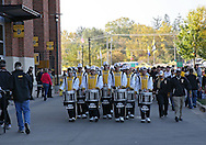 September 29 2012: The Iowa Marching band drum line walks outside the stadium before the start of the NCAA football game between the Minnesota Golden Gophers and the Iowa Hawkeyes at Kinnick Stadium in Iowa City, Iowa on Saturday September 29, 2012. Iowa defeated Minnesota 31-13 to claim the Floyd of Rosedale Trophy.