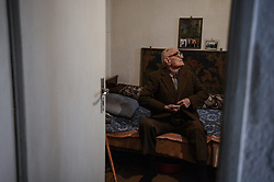 April 4, 2017 - Svilengrad, Bulgaria - elderly man is celebrating his 105 birthday in the Bulgarian border town of Svilengrad, some 260 km east from the capital of Sofia. The 105 years, Nedelcho was born in the beginning of 20 century and he is one of the oldest people around the country. He had been on the frontline, during the Second World War, at the Hungarian border. The old man shared with us, that he had been lived during three regimes, King regime, communism and democracy nowadays. Nedelcho want to live and share that secret of the long live is hidden in the walking. He drink some red wine from time to time, but the last box of cigarettes he smoked on the frontline. The old man told, that no one from the Bulgarian government or the local institutions don't give him financial help or even congratulations Svilengrad, Bulgaria on April 05, 2017  (Credit Image: © Hristo Rusev/NurPhoto via ZUMA Press)