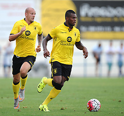 Aston Villa's Leandro Bacuna is supported by Aston Villa's Alan Hutton  - Photo mandatory by-line: Joe Meredith/JMP - Mobile: 07966 386802 - 17/07/2015 - SPORT - Football - Albufeira - Estadio Da Nora - Pre-Season Friendly