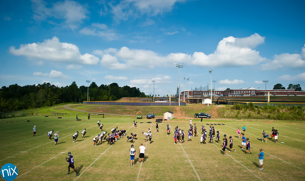 Cox Mill football practice Wednesday, August 1 at Cox Mill High School. (photo by James Nix)