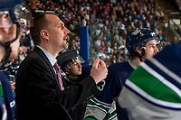 KELOWNA, CANADA - APRIL 30: Seattle Thunderbirds' head coach Steve Konowalchuk stands on the bench calling for a referee against the Kelowna Rockets on April 30, 2017 at Prospera Place in Kelowna, British Columbia, Canada.  (Photo by Marissa Baecker/Shoot the Breeze)  *** Local Caption ***