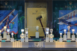 **2018 Pictures of the year by London News Pictures**<br /> &copy; Licensed to London News Pictures. 05/06/2018. London, UK. A hammer is seen in the glass of a Rolex display cabinet at Watches of Switzerland on Regent Street after it was attacked by a gang on mopeds. It is being reported that the attackers were armed with knives. Photo credit: Rob Pinney/LNP
