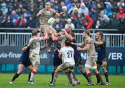 Saracens Lock (#4) Steve Borthwick (capt) wins a lineout during the second half of the match - Photo mandatory by-line: Rogan Thomson/JMP - Tel: Mobile: 07966 386802 22/12/2012 - SPORT - RUGBY - The Recreation Ground - Bath. Bath Rugby v Saracens - Aviva Premiership.