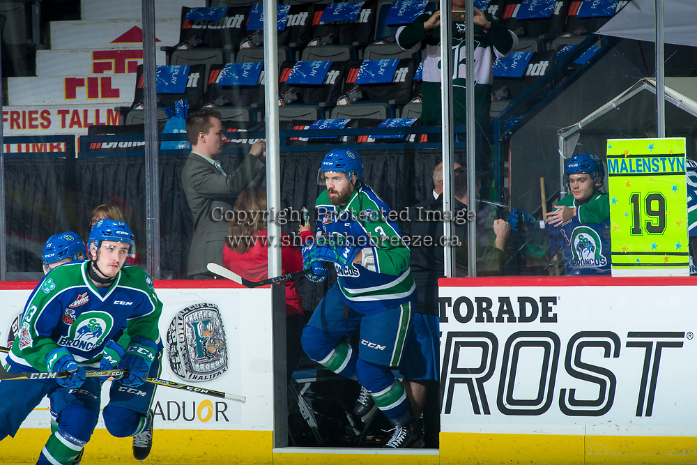 REGINA, SK - MAY 23: Josh Anderson #3 of the Swift Current Broncos enters the ice against the Regina Pats at the Brandt Centre on May 23, 2018 in Regina, Canada. (Photo by Marissa Baecker/CHL Images)