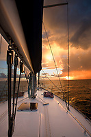 Sailing yacht just of the Pitons of St. Lucia in the Caribbean.