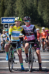 May 18, 2018 - South Lake Tahoe, California, U.S - Friday, May 18, 2018.Sisters, KENDALL RYAN, Team TIBCO - Silicon Valley Bank (USA), and ALEXIS RYAN, Team CANYON//SRAM (GER), hug one another before the start of Stage 2 of the Amgen Tour of California Women's Race empowered with SRAM, which starts and finishes in South Lake Tahoe, California...... ..Stage 2 Podium..1. Katie Hall (USA), UnitedHealthcare Pro Cycling Team (USA) 3h06'41''..2. Tayler Wiles (USA), Trek-Drops (GBR) +25''..3. Kasia Niewiadoma (POL),CANYON//SRAM Racing +1'01''.. ..Jersey Winners after Stage 2:.Amgen Race Leader Jersey Ð Katie Hall (USA), UnitedHealthcare Pro Cycling Team (USA)..Breakaway from Heart DiseaseTM Most Courageous Rider Jersey Ð Lily Williams (USA), Hagens Berman | Supermint Pro Cycling (USA)..Lexus Queen of the Mountain (QOM) Jersey Ð Katie Hall (USA), UnitedHealthcare Pro Cycling Team (USA)..Visit California Sprint Jersey Ð Katie Hall (USA), UnitedHealthcare Pro Cycling Team (USA)..TAG Heuer Best Young Rider Jersey Ð Sara Poidevin (CAN), Rally Cycling  (Credit Image: © Tracy Barbutes via ZUMA Wire)