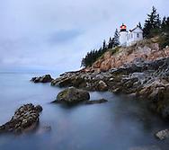 Bass Harbor Head Light In Pre-Dawn Light On A Rainy Morning, Acadia National Park, Maine
