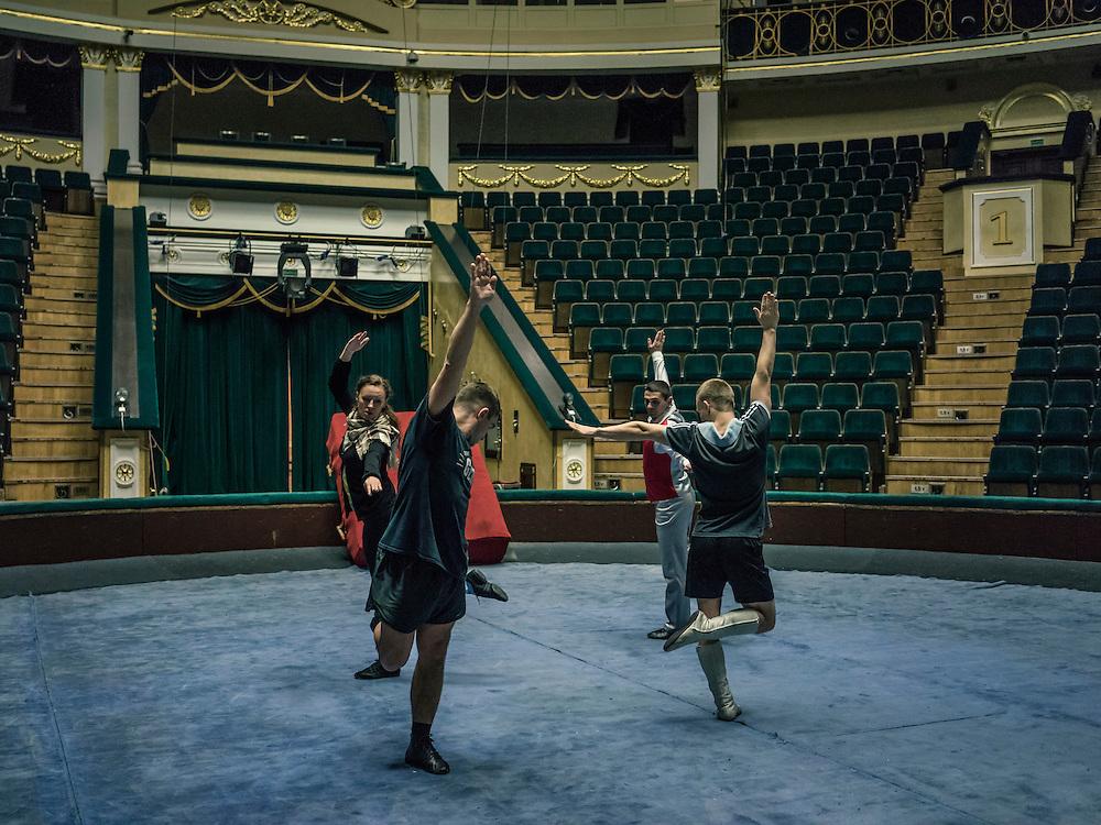 Acrobats from Belarus practice their circus act on Wednesday, November 25, 2015 in Minsk, Belarus.
