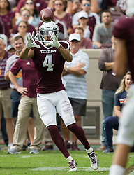 Texas A&M wide receiver Damion Ratley (4) catches a pass against Auburn during the second quarter of an NCAA college football game on Saturday, Nov. 4, 2017, in College Station, Texas. (AP Photo/Sam Craft)