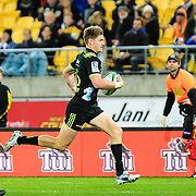 Beauden Barrett during the Super Rugby union game between Hurricanes and Sunwolves, played at Westpac Stadium, Wellington, New Zealand on 27 April 2018.   Hurricanes won 43-15.