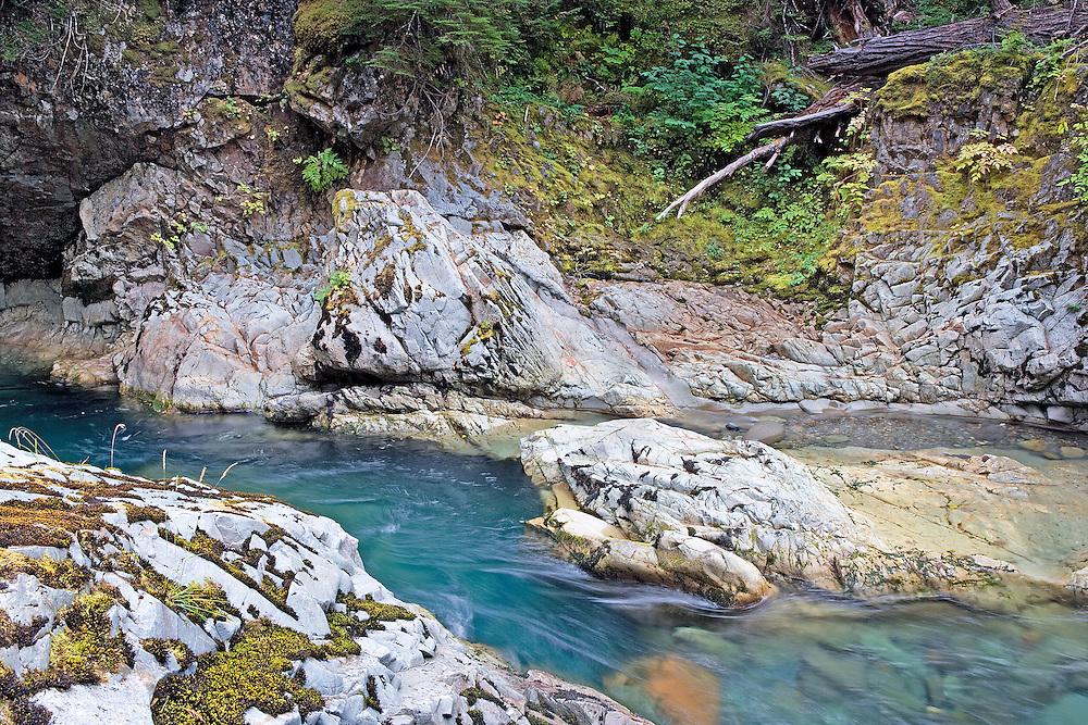 quiet autumn afternoon on the Ohanapecoosh River, Mt. Rainier Nat. Park, WA.