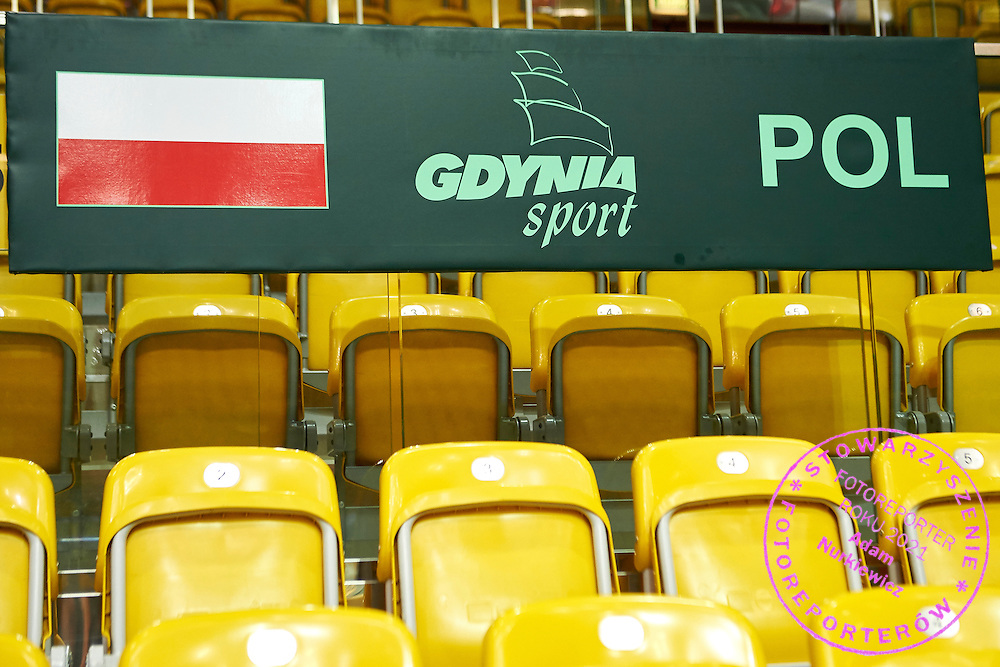 Special tribune for supporters of Poland during Davis Cup Tie World Group Play-off Poland v Slovakia at Gdynia Arena Hall in Gdynia, Poland.<br /> <br /> Poland, Gdynia, September 19, 2015<br /> <br /> Picture also available in RAW (NEF) or TIFF format on special request.<br /> <br /> For editorial use only. Any commercial or promotional use requires permission.<br /> <br /> Adam Nurkiewicz declares that he has no rights to the image of people at the photographs of his authorship.<br /> <br /> Mandatory credit:<br /> Photo by &copy; Adam Nurkiewicz / Mediasport