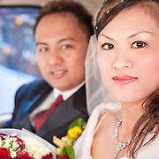 The bride and groom are driven to their reception in Namasiya Township, Kaoshiung County, Taiwan.