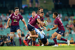 March 9, 2019 - Sydney, NSW, U.S. - SYDNEY, NSW - MARCH 09: Reds player Chris Feauai-Sautia (14) gets the ball to Reds player Duncan Paia'aua (12) at round 4 of Super Rugby between NSW Waratahs and Queensland Reds on March 09, 2019 at The Sydney Cricket Ground, NSW. (Photo by Speed Media/Icon Sportswire) (Credit Image: © Speed Media/Icon SMI via ZUMA Press)