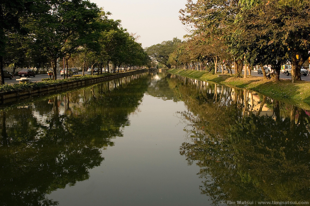 A view of the moat around the old city of Chiang Mai, Thailand.