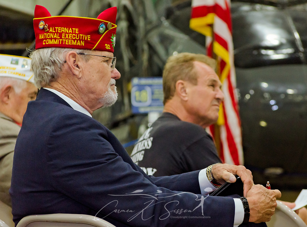 Alternate National Executive Committeeman Steve Sweet listens as veterans share stories of their VA experiences during the Mobile SWS Town Hall at USS Alabama Battleship Memorial Park in Mobile, Ala., on Friday, April 3, 2017. (Photo by Carmen K. Sisson/Cloudybright)