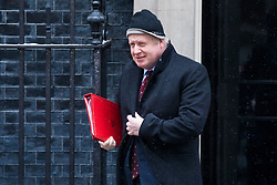 © Licensed to London News Pictures. 01/03/2018. London, UK. Foreign Secretary Boris Johnson on Downing Street after a meeting of the Cabinet ahead of Prime Minister Theresa May's speech on Brexit. Photo credit: Rob Pinney/LNP