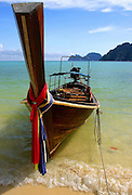fishing boats on The beach at Koh Pi PI, Thailand