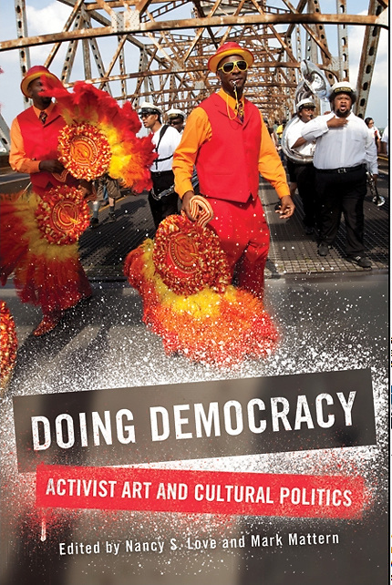 "Second Line in New Orleans used as a book cover for ""Doing Democracy"""