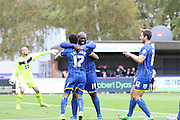 AFC Wimbledon Celebrate, Andy Barchams  goal on 4 minutes during the Sky Bet League 2 match between AFC Wimbledon and Morecambe at the Cherry Red Records Stadium, Kingston, England on 17 October 2015. Photo by Stuart Butcher.
