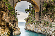 Furore Bridge on the Amalfi Coast.  Furore's main attraction is the so-called fjord. It's actually a narrow gorge cutting inland from the sea.