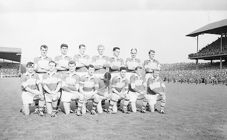 The Kerry team before the All Ireland Senior Gaelic football final Derry v. Kerry in Croke park on the 26th September 1965. <br /> Back row (from left) Denis O'Sullivan, Mick O'Dwyer, Vincent Lucey, Paud O'Donoghue, Mick O'Connell, Niall Sheehy, Mick Morris. <br /> Front row (from left) Derry O'Shea, Jo Jo Barrett, Gerdie O'Connor (capt), Seamus Murphy, John Culloty, Pat Griffin, Donie O'Sullivan, Bernie O'Callaghan. Galway 0-12 Kerry 0-09.