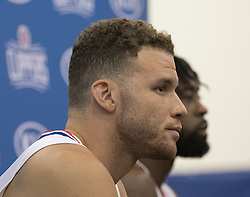 September 25, 2017 - Los Angeles, California, U.S - Blake Griffin #32(L) and DeAndre Jordan #6 of the L.A. Clippers during Media Day on Monday September 25, 2017 at the L.A. Clippers training facility in Los Angeles, California. (Credit Image: © Prensa Internacional via ZUMA Wire)