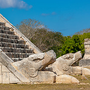 Chichen Itza # 7 Detail of snake heads  at El Castillo temple. Chichen Itza, Yucatan. Mexico.