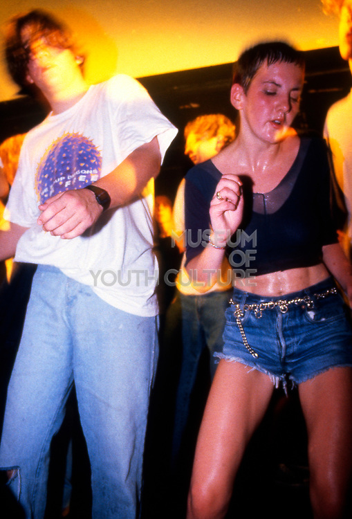 Clubbers on the main stage at the Temperence night in the Hacienda, Manchester 1989