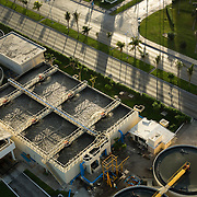 Aerial shot of water treatment plant in hotel zone. Cancun, Quintana Roo, Mexico.