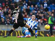 Brighton central midfielder Beram Kayal & Bolton Wanderers midfielder Mark Davies during the Sky Bet Championship match between Brighton and Hove Albion and Bolton Wanderers at the American Express Community Stadium, Brighton and Hove, England on 13 February 2016. Photo by Bennett Dean.