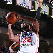 Delaware 87ers Forward EARL CLARK (22) drives to the basket in the first half of a NBA D-league regular season basketball game between the Delaware 87ers and the Maine Red Claws Friday, Feb. 19, 2016 at The Bob Carpenter Sports Convocation Center in Newark, DEL.