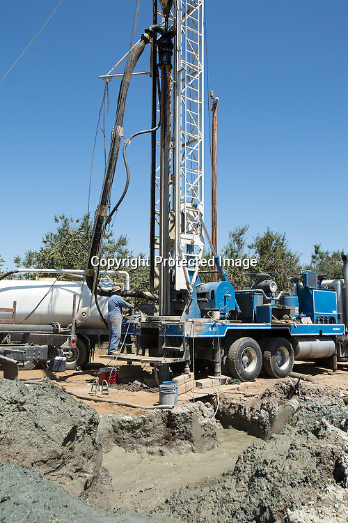 Drilling for undergraound water in Merced County, Northern California due to state's four years drought.