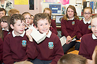 "06/06/2014 Holding the 1st Mobile phone  David And  Mannion along with class mates got to meet Marty Cooper (the inventor of the mobile phone) and his wife Arlene Harris the ""first lady of wireless"" who popped into Kiltiernan National School Co. Galway.Photo:Andrew Downes"