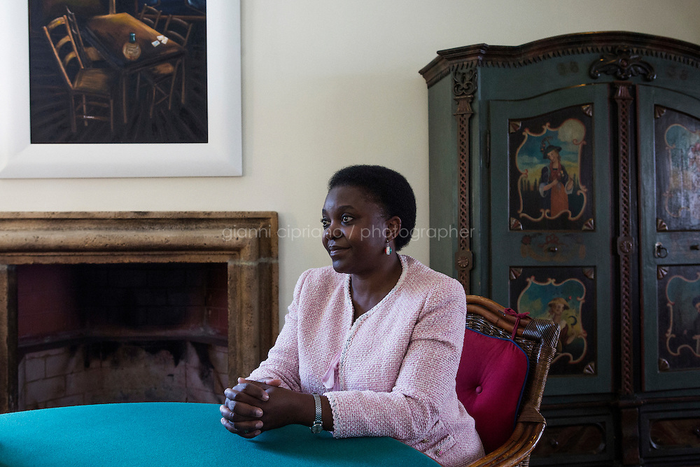 ROME, ITALY - 21 JULY 2014: Cécile Kyenge, former Italian Integration Minister and currently a member of the European Parliament, is here during an interview  in Rome, Italy, on July 21st 2014.