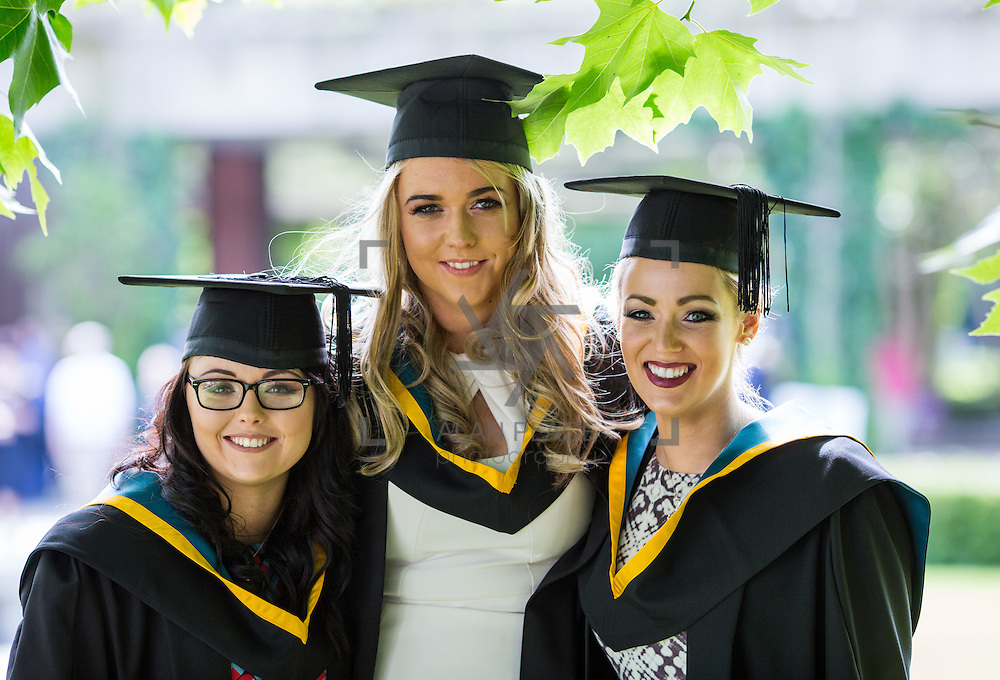 26.08.2016        <br /> University of Limerick Interfaculty Conferring Ceremony.<br /> <br /> Attending the conferring ceremony were Bachelor of Science (Education) in Biological Sciences graduates, Sarah Clarke, Newbridge Co. Galway, Nikita Fitzpatrick, Kilkenny City and Laura Walshe, Sligo. Picture: Alan Place.