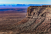 View of the 2000 foot escarpment which rises over Monument Valley on the Arizona-Utah border.